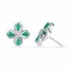 Emerald With Sterling Diamond Earrings